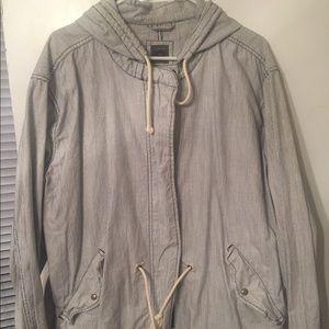 Gap Seersucker Zip-up Cinch-waist Jacket